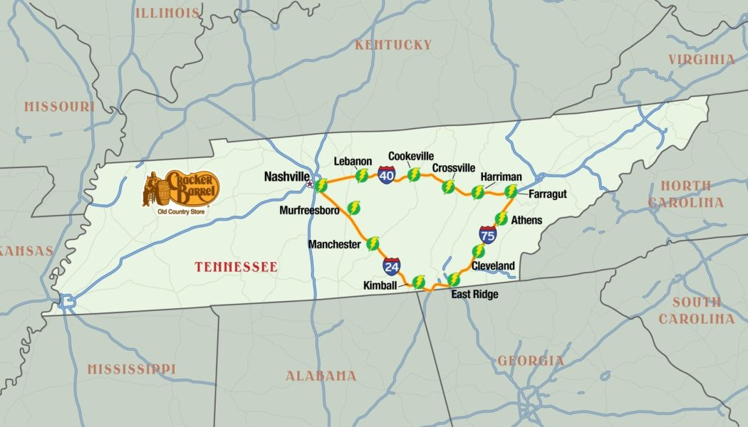 Cracker Barrel to Install EV Charging Stations at 24 Tennessee Locations