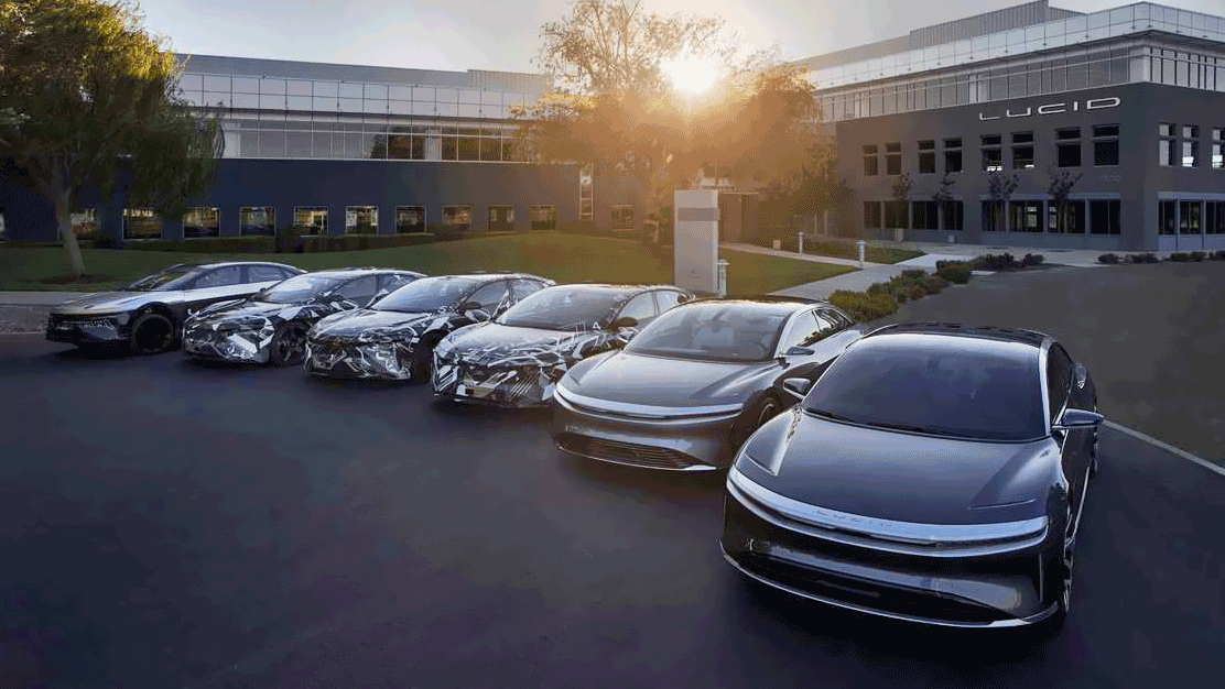 lucid motors lined up